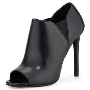 Prada Black Leather Peep Toe Bootie